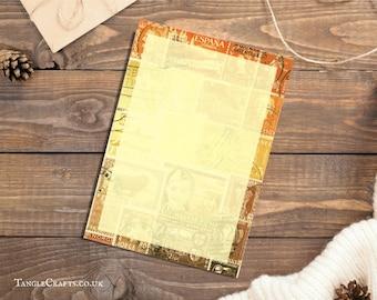 A5 Letter Writing Paper Set | Sunset Orange Brown Postage Stamp Stationery Set | Abstract Landscape Snail Mail Penpal Letter Writing Kit