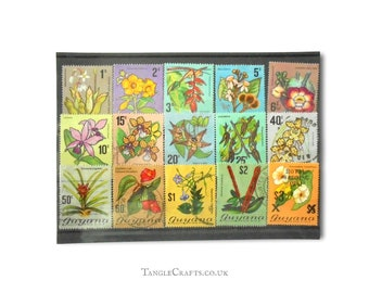 Flowering Plants, postage stamp selection from Guyana | Retro Floral 1970s used vintage postal stamps | upcycled card craft decoupage supply