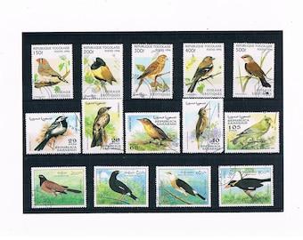 Garden Bird Postage Stamp Selection, 1995 Laos & 1996 Togo