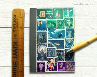 Ocean Ombre - upcycled postage stamp address book