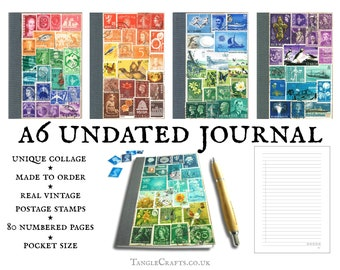 Undated A6 Journal - Custom stamp art cover