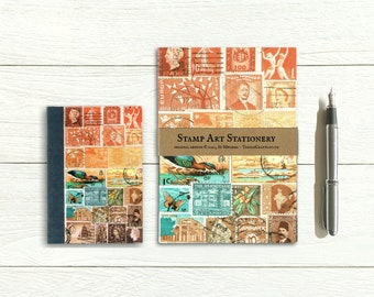 Sunset Heron address book & writing paper set, postage stamp print landscape