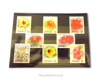 Christmas flowers postage stamp collection - Jamaica 1987 & 1988 sets