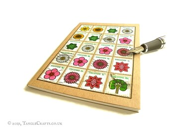 Flower Power Notebook • Retro 1973 Postage Stamps • Singapore Travel Journal