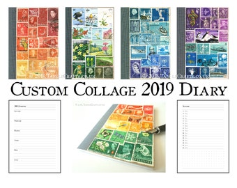 Eco Friendly 2019 Diary with Upcycled Postage Stamp Cover
