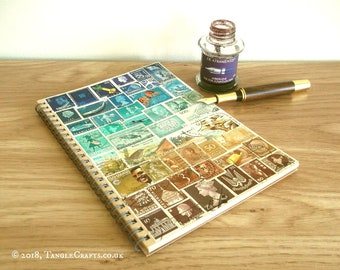 Beachy: Turquoise Brown A5 Travel Planner • Upcycled Stamp Art Cover