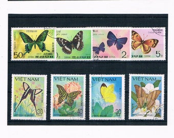 Butterflies with Flowers on Postage Stamps