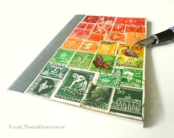 Glowing Sunset To-Do List Book - Red Green Postage Stamp Art