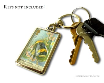 Bumble Bee Keyring - real upcycled 1985 British postage stamp