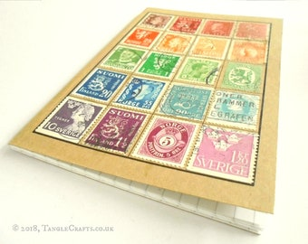 Rainbow Scandinavia Notebook - Stamp Album Style with graph square grid pages