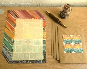 Sunset Sea Letter Writing Set • Postage Stamp Art Stationery Set