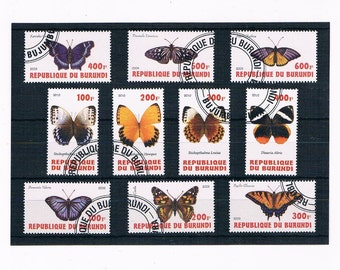 Butterflies on Postage Stamps - Burundi sets 2009, 2010