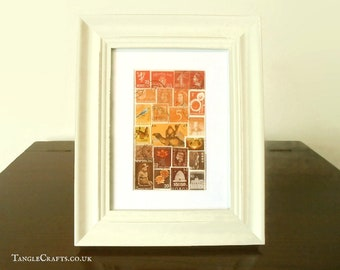 Sunset Camel Stamp Art - Small Framed Collage, Recycled World Stamps