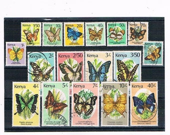 Vintage Kenya Butterfly Postage Stamps | beautiful butterflies used stamp stock card | craft collage upcycled card toppers collect decoupage