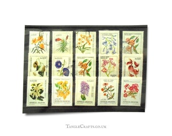 Flower definitives from Argentina, 1980s used & mint postage stamp part set