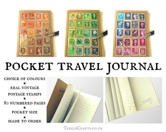 A6 Travel Journal - Stamp album style in a choice of colours