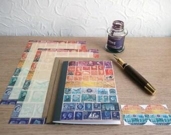 Sunset Sea Sampler Writing Set • Postage Stamp Letter Set Stationery