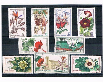 Flowers on Postage Stamps from Romania | used vintage 1960s stylised floral postal stamps | card craft collage upcycle collection decoupage