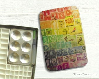 Rainbow DIY watercolour tin with hinged lid - A5 size