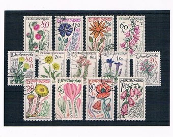 Botanical Flower Postage Stamps from 1960s Czechoslovakia - wild flowers, medicinal plants