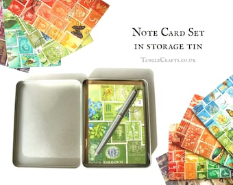 Mixed Design Notecard Set in Gift Tin - Colourful Any Occasion Postage Stamp Note Cards