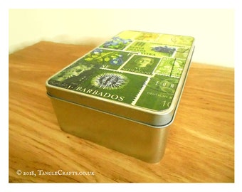 Tonal Green Postage Stamp Storage Tin