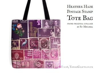 Heather Haze Tote Bag - Postage Stamp Print Shopper with Long Handles