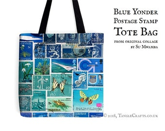 Blue Yonder Tote Bag - Postage Stamp Print Shopper with Long Handles