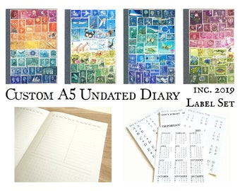 Undated Diary + 2019 Calendar Label - Custom Stamp Art Cover