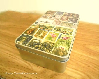 Heather Hills Postage Stamp Print Storage Tin