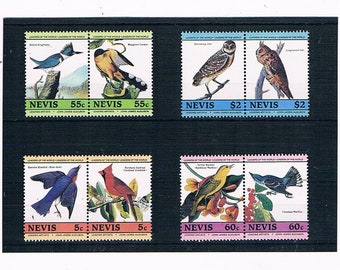 Audubon Birds on Nevis Postage Stamps - kingfisher, owl, cardinal, bluebird | mint vintage 1985 bird thematic postal stamp collection