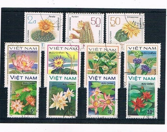 Flower Postage Stamps from Vietnam - 1976, 1977 & 1984