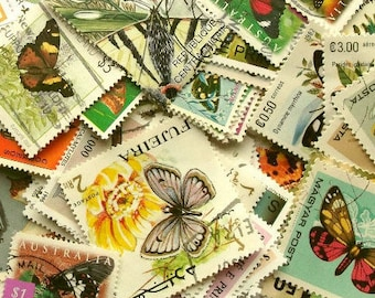 40 or 80 butterfly postage stamps - butterflies world stamp packet