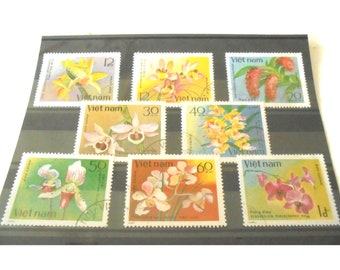 Floral postage stamp set from Vietnam, 1982 | delicate colourful flowers on postal stamps | for crafting, collage, decoupage or collection