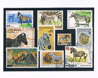 Zebra Postage Stamp Selection - mixed countries