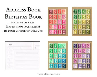 Colourful Machin Stamp Address Book + Notebook, Upcycled British Postage Stamps