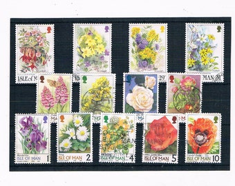 WildFlower Postage Stamps - part set, Isle of Man, 1990s