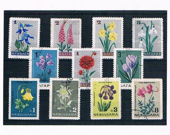Vintage Flower Stamps from Bulgaria, 1960s - garden flowers, wildflowers