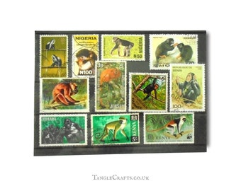 Monkeys & Primates Postage Stamp Selection - mixed countries