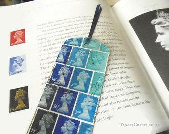 Tonal blue Machin postage stamp bookmark