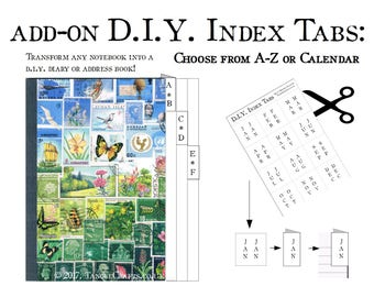 DIY Index Tab Set, A-Z & Calendar Month Tabs - Make Your Own Planner, Birthday and Address Book - Bullet Journaling Notebook Sticker Sheets