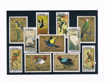 Exotic BIrd Stamps with Gold Detailing - part sets from Ajman (1971) & Fujeira (1972)