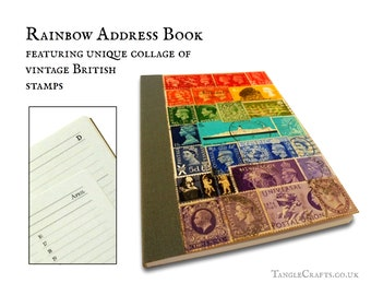 British rainbow address book • decorated with real vintage postage stamps