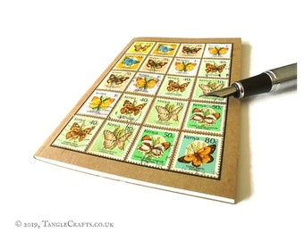 Butterfly Travel Journal - Upcycled Kenya Postage Stamps