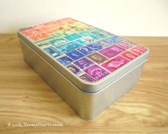 Rainbow 2 Stationery Storage Tin - Postage Stamp Art Lid Design