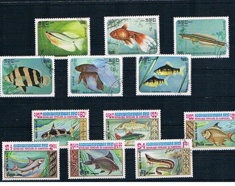 Freshwater Fish Postage Stamps - part sets from Cambodia, 1983 & 1985