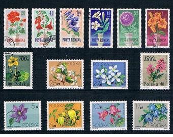 Flower Stamp Selection - Poland 1984, Romania 1964