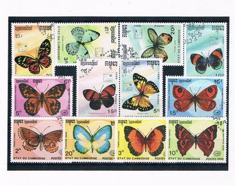 Pastel Butterfly Postage Stamps - Part sets Cambodia 1989 & 1990