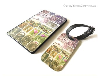 Heather Hills Passport Cover & Luggage Tag Set - postage stamp print travel accessories