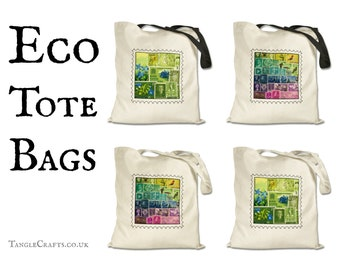Eco Tote Bag - Postage Stamp Print Shopper with Long Handles